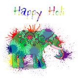 Beautiful  card wit elephant and splatters. Card with colorful elephant and splatter. Holi festival of colors Royalty Free Stock Images
