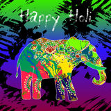 Beautiful  card wit elephant and splatters. Card with colorful elephant and splatter. Holi festival of colors Royalty Free Stock Photos