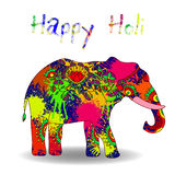 Beautiful  card wit helephant and splatters. Stock Photo