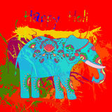 Beautiful  card wit helephant and splatters. Royalty Free Stock Image