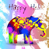 Beautiful  card wit helephant and splatters. Stock Photography