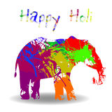 Beautiful  card wit helephant and splatters. Stock Photos