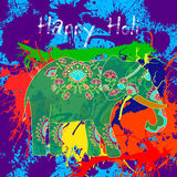 Beautiful  card wit helephant and splatters. Royalty Free Stock Photo