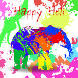 Beautiful  card wit helephant and splatters. Stock Images