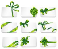 Beautiful cards with green gift bows Royalty Free Stock Photos