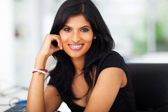 Beautiful career woman. Close up portrait of beautiful career woman in office Royalty Free Stock Images