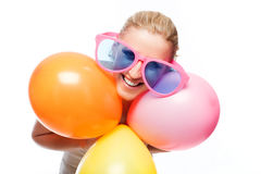 Beautiful carefree young woman enjoying a party Stock Images