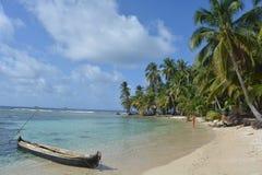 Beautiful caribbean beach of a San Blas island, in Panamá Stock Photo