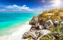 The caribbean coast of Tulum, Mexico royalty free stock photos
