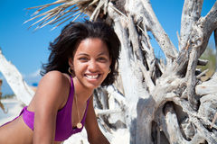 Beautiful caribbean woman. On a topical beach Royalty Free Stock Photos