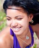 Beautiful caribbean woman posing. On a tropical beach Stock Photo