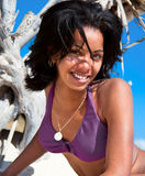 Beautiful caribbean  woman on tropical beach Stock Image