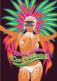Beautiful carnival dancer, amazing costume. Vector illustration. Stock Image