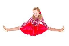 Beautiful carnival dancer woman doing splits Royalty Free Stock Photos