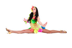 Beautiful carnival dancer woman doing splits Royalty Free Stock Photography