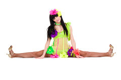 Beautiful carnival dancer woman doing splits Royalty Free Stock Images