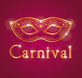 Beautiful Carnival illustration with venetian mask. Red and gold. Royalty Free Stock Photography
