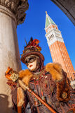 Beautiful carnival mask on San Marco square in Venice, Italy Royalty Free Stock Photos