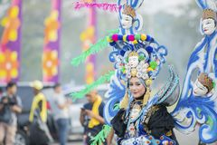 Beautiful carnival model on annual parade. JEMBER - Indonesia. May 21, 2018: Beautiful carnival model on annual parade in Jember Festival Carnaval Stock Images