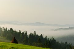 Beautiful Carpathians with a foggy mountain. Amazing summer landscape in the Carpathian mountains, Ukraine Stock Images
