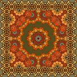 Beautiful carpet or tablecloth with flower mandala and ornamental frame in indian style. Bandana print, greeting card, packaging design Stock Photo