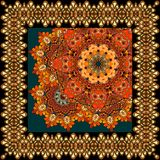 Beautiful carpet or tablecloth with flower mandala and ornamental frame in indian style. Headband, handkerchief, square rug. Multicolor vector illustration Stock Photo