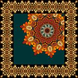Beautiful carpet or tablecloth with flower mandala and ornamental frame in indian style. Unusual shawl, scarf, square rug Royalty Free Stock Photography