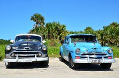 Beautiful cars of  Cuba, at the beach Stock Image