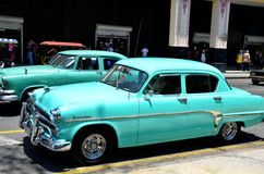 Beautiful cars of  Cuba, busy Havana streets Stock Image