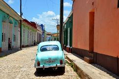 Beautiful cars of  Cuba, in colonial Trinidad Royalty Free Stock Images