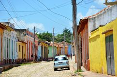 Beautiful cars of Cuba, streets of Trinidad stock image