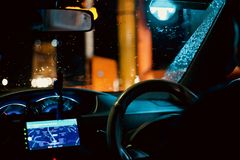 Beautiful cars interior object at night unique photo. Steering wheels with the cars dashboard unique royalty free image stock photography