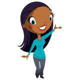 Beautiful cartoon black business woman character with cute face Stock Photography
