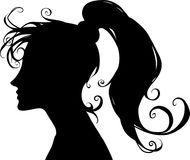 Beautiful cartoon black silhouette illustration of a beautiful and elegant woman portrait Stock Photo