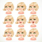 Beautiful cartoon blond girl portrait of different emotions Stock Photography