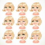 Beautiful cartoon blond girl portrait of different emotions Stock Image