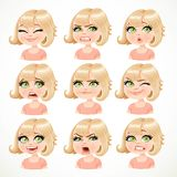 Beautiful cartoon blond girl portrait of different emotions Royalty Free Stock Photo
