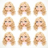 Beautiful cartoon blonde girl with magnificent curly hair portrait of different emotional states Royalty Free Stock Image