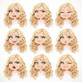 Beautiful cartoon blonde girl with magnificent curly hair portrait of different emotional states set 3 Stock Images