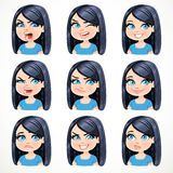 Beautiful cartoon brunette girl with black hair portrait of different different emotional states Stock Photo