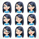 Beautiful cartoon brunette girl with black hair portrait of  different emotional states Royalty Free Stock Photography
