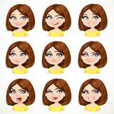 Beautiful cartoon brunette girl with dark chocolate color hair Stock Image
