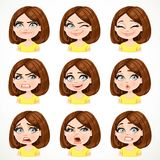 Beautiful cartoon brunette girl with dark chocolate color hair portrait of different emotional states set 2 Stock Images