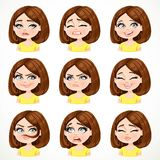 Beautiful cartoon brunette girl with dark chocolate hair portrait of different emotional states set Royalty Free Stock Images