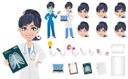Beautiful cartoon character medic creation set. Doctor woman, professional medical staff, pack of body parts and emotions. Beautiful cartoon character medic Stock Images