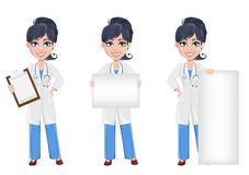 Beautiful cartoon character medic. Set royalty free illustration