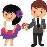 Beautiful cartoon couple with flowers  Stock Photos