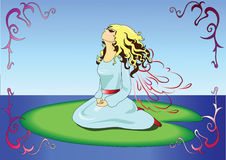 Beautiful cartoon fairy character. Little fairy sitting on a waterlilac leaf royalty free illustration