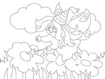 Beautiful cartoon fairy on the meadow. For coloring book. royalty free illustration