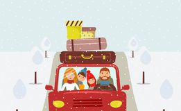 Beautiful cartoon family: young man, woman, son and daughter are going to Christmas vacation vector illustration